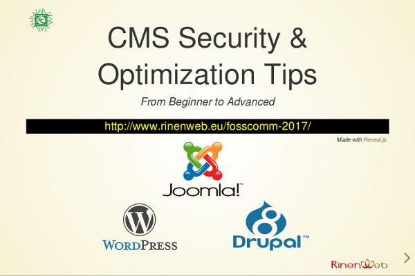 Παρουσίαση: CMS Security & Optimization Tips @ FOSSCOMM 2017